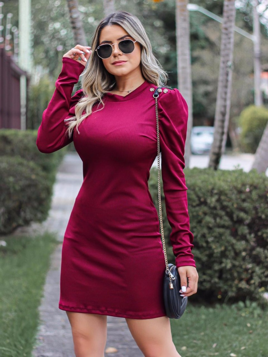 eb3a348e9bde vestido canelado midi manga longa outono inverno 2019. Carregando zoom.