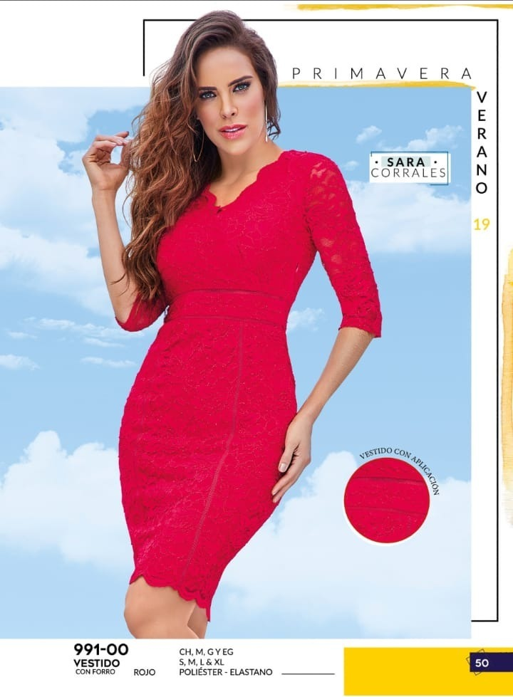 Vestido Caplicaciones Rojo Cklass 991 00 Pvjk 2019