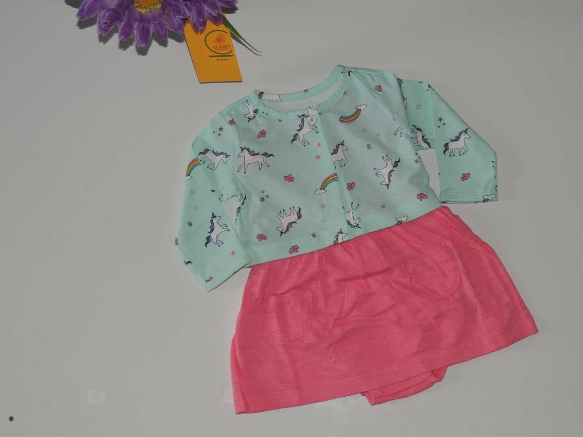 Vestido Carters Rosa Com Cardiga Unicornio Bebe 6 A 18 Meses R