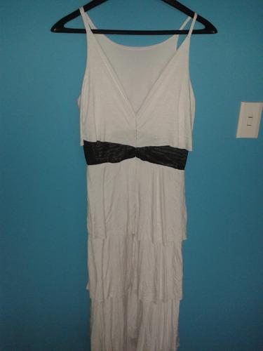 vestido casual blanco largo con falda en capas nuevo l