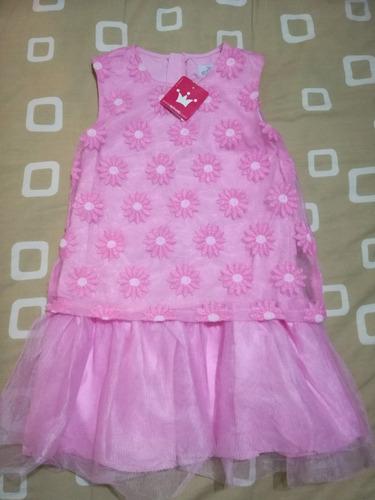 vestido casual con encaje y tul rosado epk