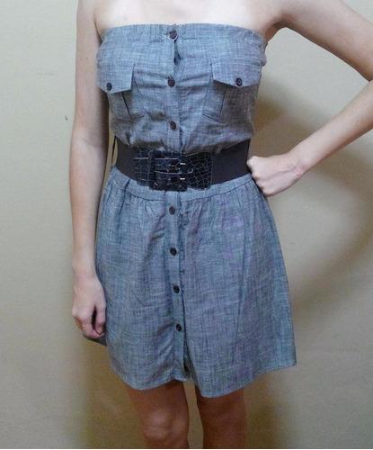 vestido casual corto, color marrón claro