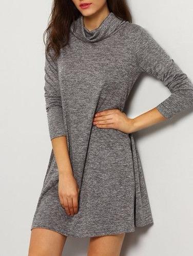 vestido casual corto dama  manga larga en algodon