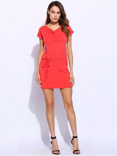 vestido casual corto sexy rojo moderno c/cinto moda japonesa
