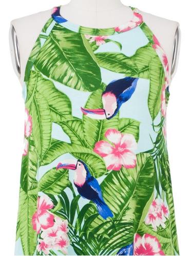 vestido casual corto tropical verde, halter, fresco, sexy.
