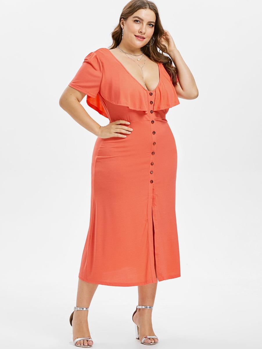 4247251aa0 Vestido Casual Dama V-ceullo Con Botones Para Mujer De Moda ...