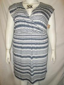 ba96f04b7 Vestido Casual De Franjas Azul Y Blanco Talla 3x Sonoma