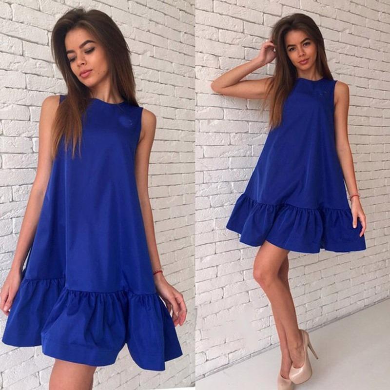 Vestido azul y rosa palo