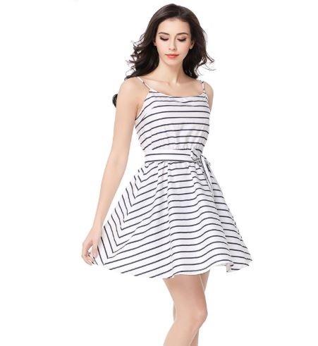 1eb3f03d47 Vestido Casual Feminino Branco Com Listras Em Preto Novo - R  65