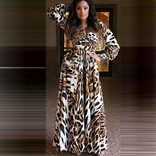 vestido casual largo estampado animal print moda manga larga