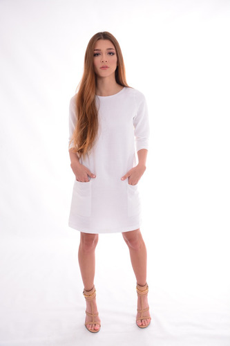 vestido casual micca classic lino 3/4