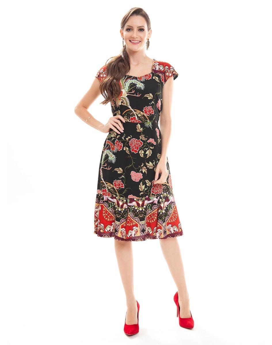 f08a5ceee5 vestido casual midi preto com estampa flores vermelha 05812. Carregando  zoom.