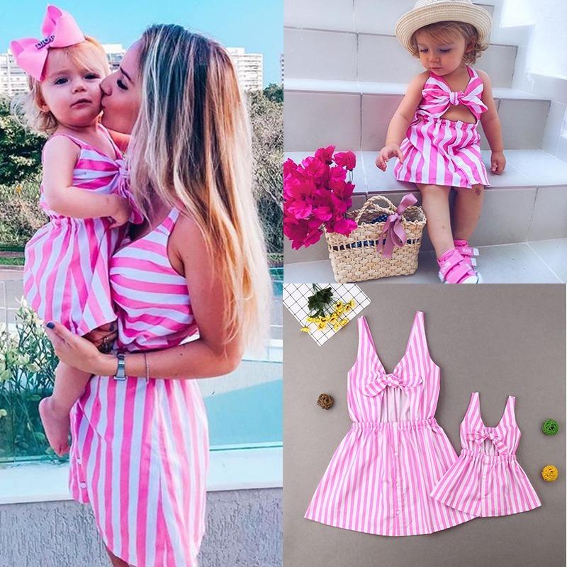 e563ef7b6 Vestido Casual Moda Ropa Para Niñas Bebé Rallas Rosas Lindo