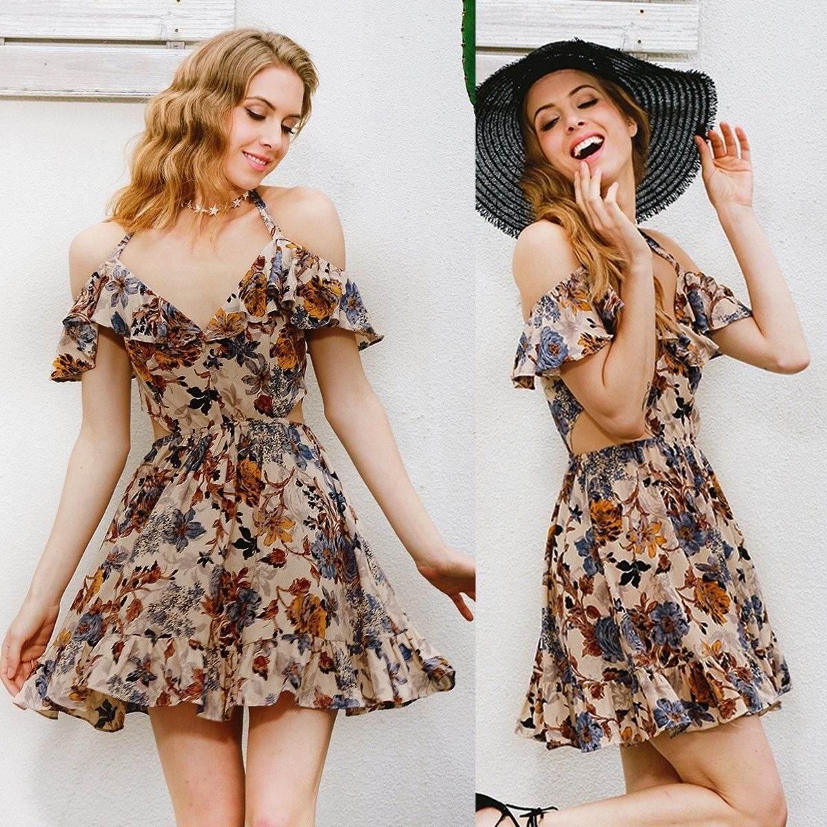 Vestido Casual Moda Verano Otoño Floral Corto Boho Moda 2018