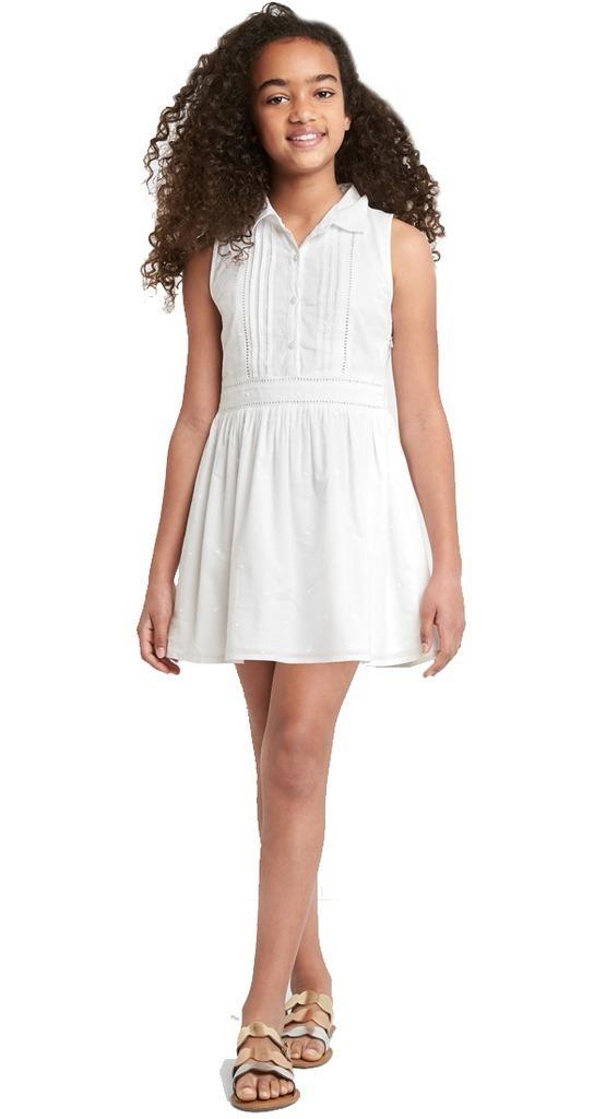 Vestido Casual Niña Corto Sin Mangas Algodón Blanco Gap