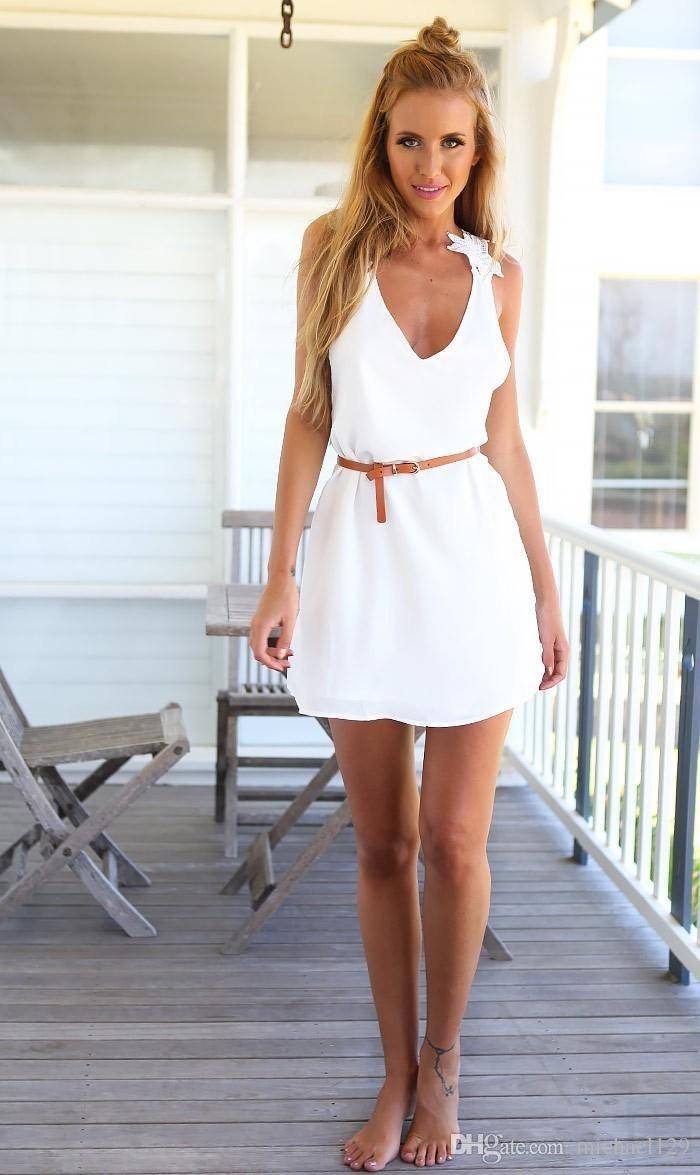 6722238f07c vestido casual para el verano con detalle de crochet blanco. Cargando zoom.