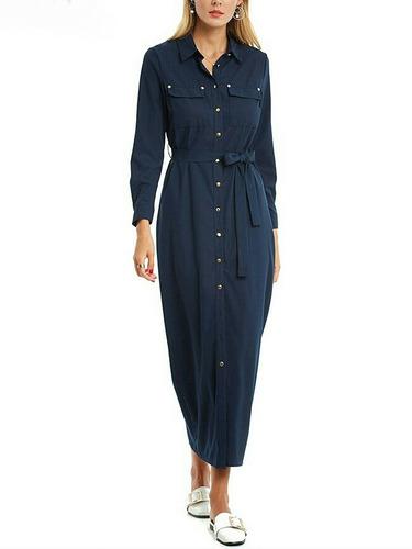 vestido casual sexy maxi azul marino largo + envio gratis