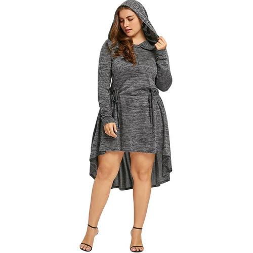 vestido c/capucha manga larga talla plus grande +envíogratis