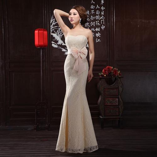 vestido champagne fashion strapless elegante fiesta cocktai