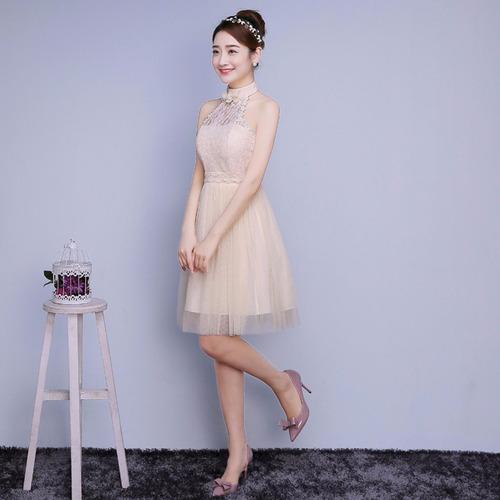 vestido champán fashion elegante fiesta grados dama de honor