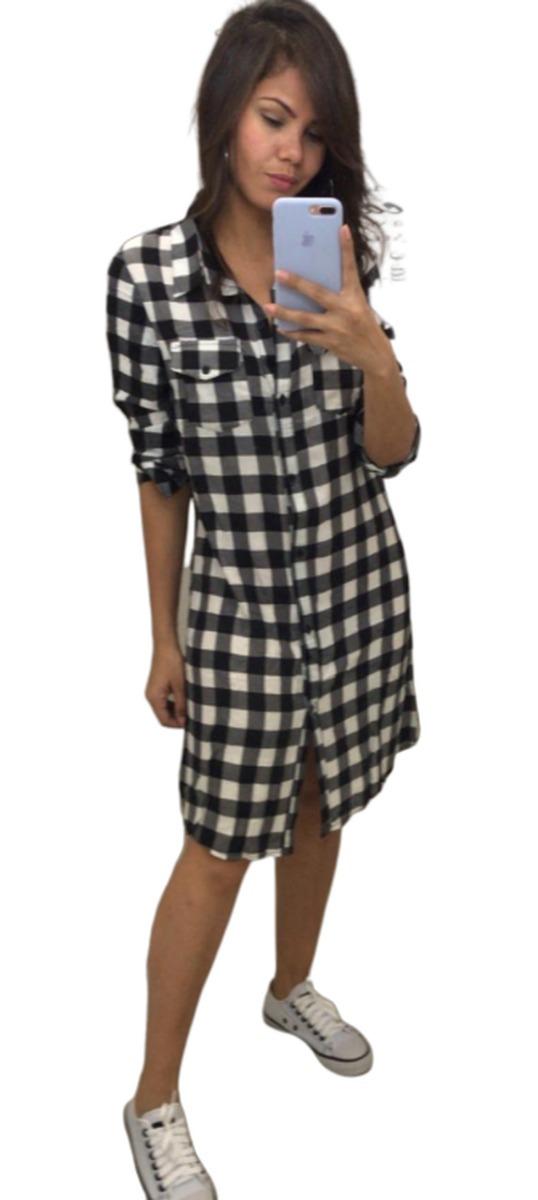 52de3537cb86 Vestido Chemise Camisão Xadrez Feminino - R$ 55,00 em Mercado Livre
