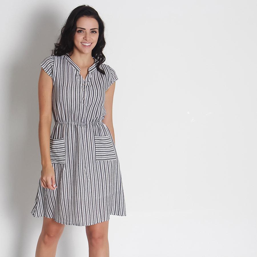 df1a70e222 vestido chemise listrado feminino lily fashion - color. Carregando zoom.