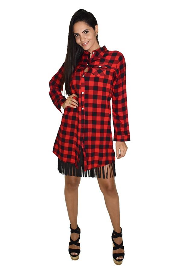 6efca3129 vestido chemise xadrez feminino vermelho chris santini. Carregando zoom.