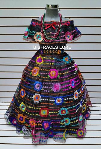 vestido chiapaneca 8 olanes de 14/16 años chiapas bordado