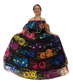 Vestido Chiapaneca Traje Chiapas Típico Bordado A Mano Mujer