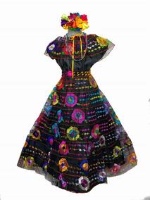 Vestido Chiapas 14 16 Años 9 Olanes Chiapaneca Con Collares