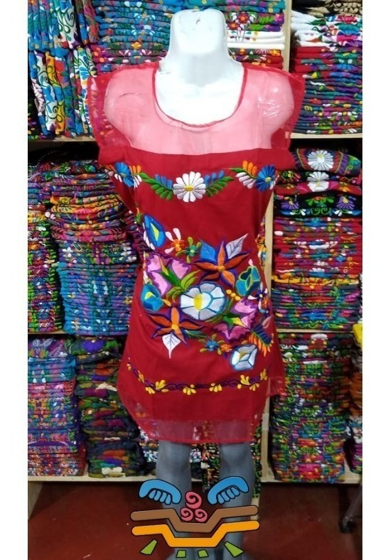 Vestido Chiapas Maya Tul Manga Corta