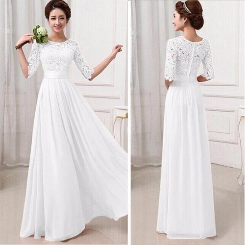 vestido chiffon encaje elegante fiesta cocktail blanco //