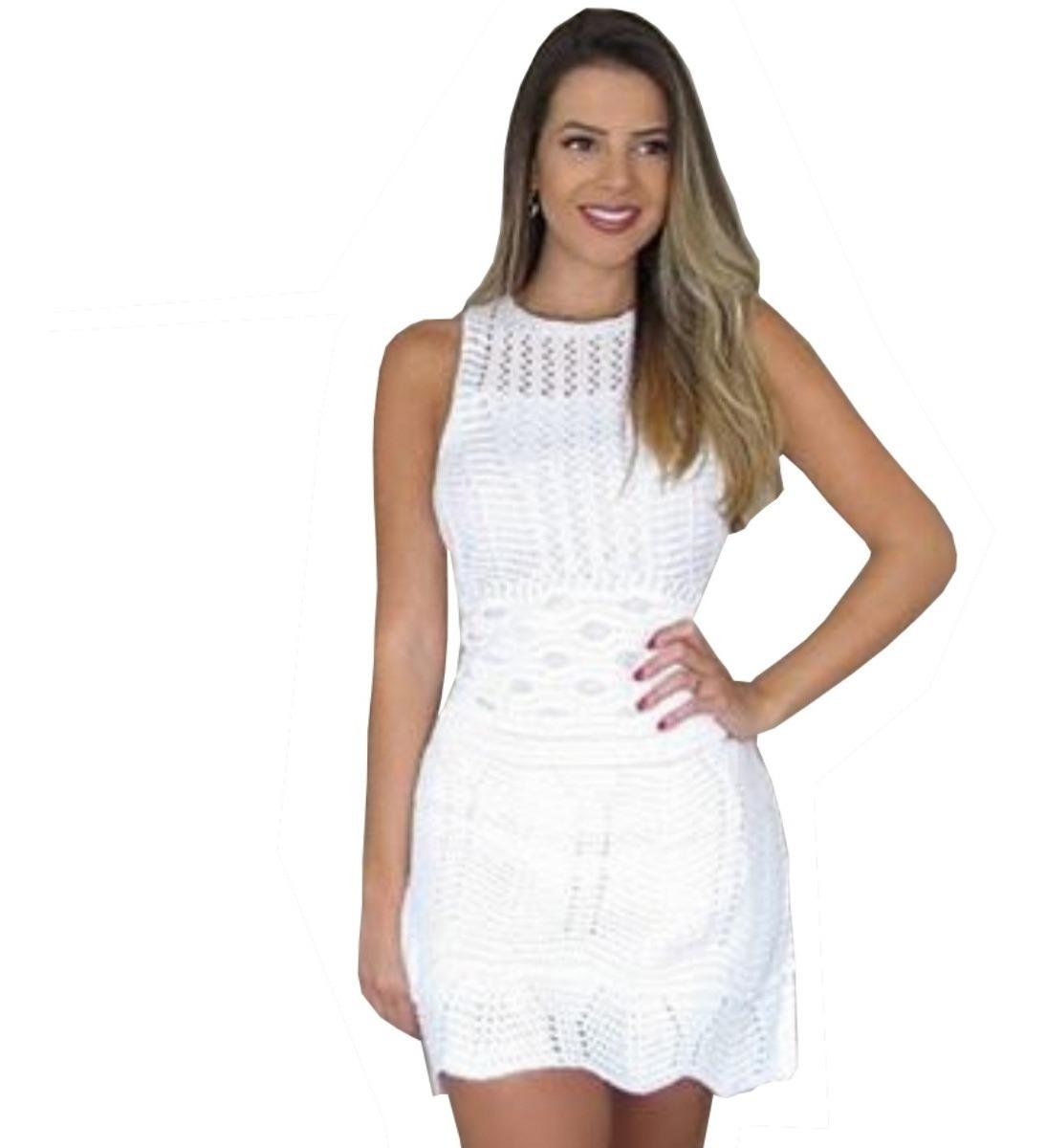 bde78ce494cf Vestido Chique Curto Oferta Da Moda Tricot Trico Rendado - R$ 49,90 ...