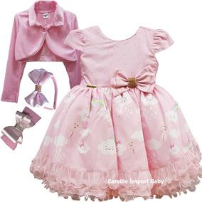 84574ab667897e Vestido Chuva De Amor Benção Arco Íris Rosa Bolero E Tiara