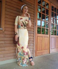 8a5299c15b Vestido Longo Ciganinha Estampado - Vestidos Casuais Longos Femininas no  Mercado Livre Brasil