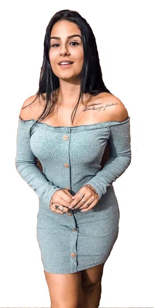 Vestido Ciganinha Manga Longa Com Botões