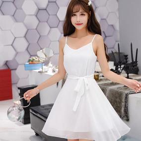 d9798359fa9bb Vestido Cinta Espaguete Namorada Decote Mini Vestido Com Cin