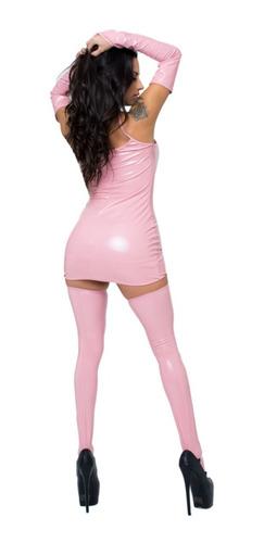 vestido clásico ajustado vinilo rosa lencería online