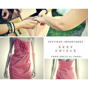 Vestido Cocktail- Fiesta Color Chicle!! Importado Usa