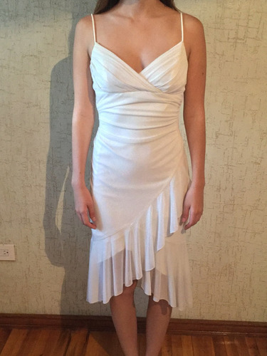 vestido cocktail blanco chiffon