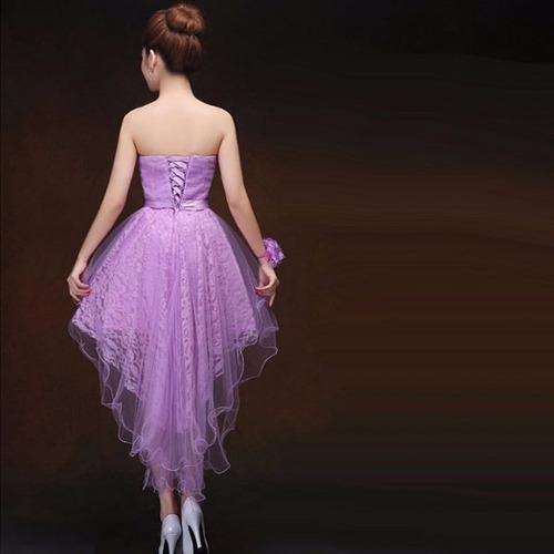 vestido cóctel moderno cola de pato strapless formal dos
