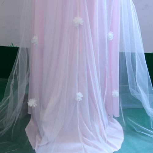 vestido cola blanco rosa elegante fiesta - g09