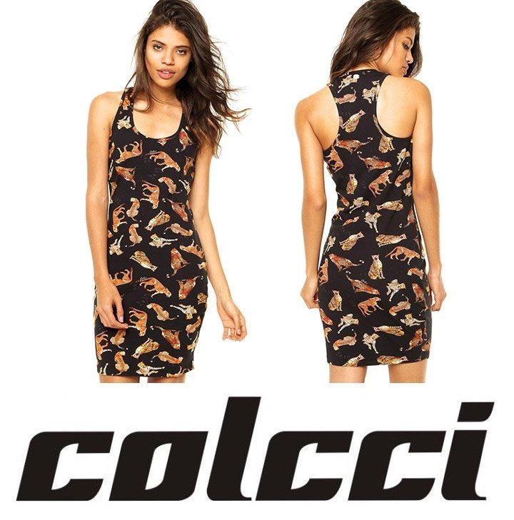 3a553c74ee Vestido Colcci Preto Onça Oncinha Estampa Animal Print - R  299