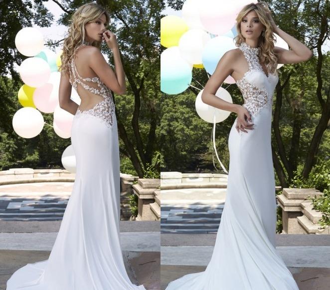 e91890b033 Vestido Color Blanco   Negro Sirena Largo Jolie Robe -   3.999