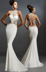 f3321b1dd16d Vestido Color Blanco / Negro Sirena Largo Jolie Robe
