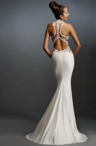 5ea221bd63 Vestido Color Blanco   Negro Sirena Largo Jolie Robe -   3.799