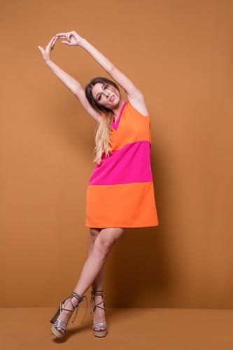 vestido color blockin naranja y fucsia universo