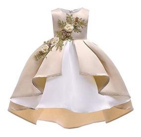 Vestido Color Champagne Con Crinolina Fiesta De Niña Aimj