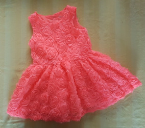 Vestido Color Coral Hermoso Para Niña