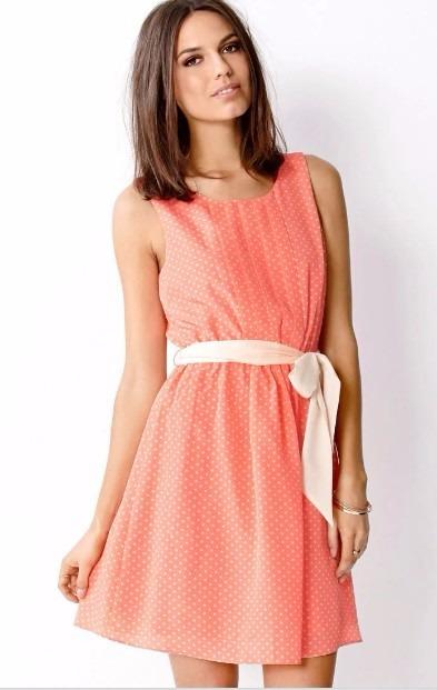 Vestido Color Durazno Con Puntos Beige Forever 21 17900